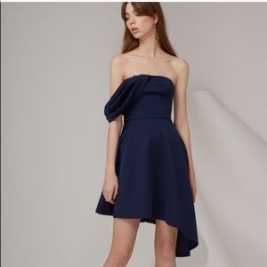 Keepsake Navy Drape Dress SMALL NET